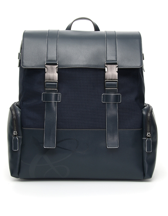 BLUE LEATHER AND FABRIC BACKPACK WITH TWO STRAPS