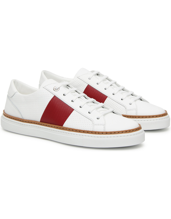 White leather low-top sneakers with red stripe