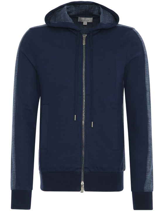 Navy blue cotton reversible zip-up hooded sweatshirt with crosshatch print