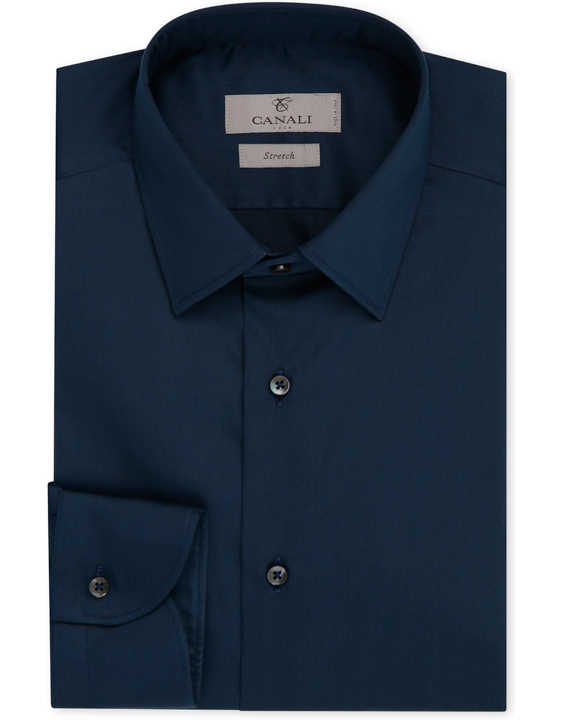 CAMICIA SLIM FIT IN COTONE STRETCH BLU NAVY