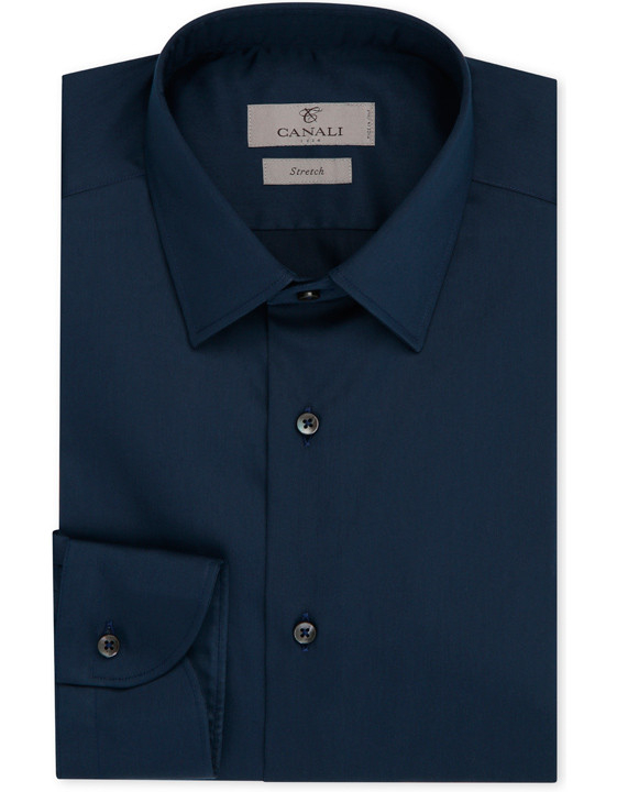 NAVY BLUE STRETCH COTTON SLIM FIT DRESS SHIRT